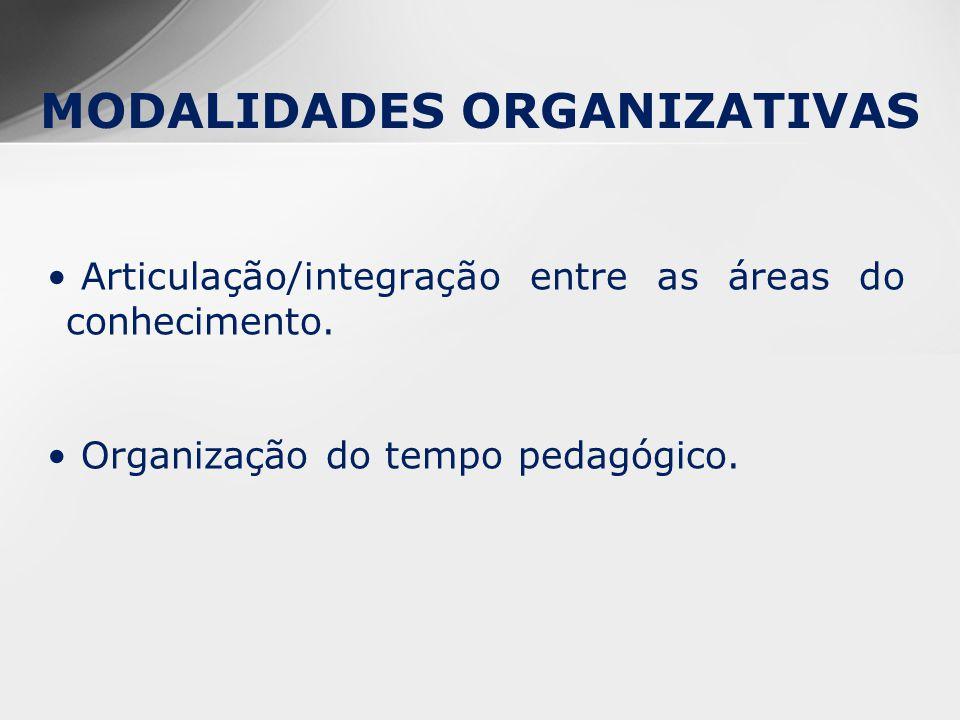 MODALIDADES ORGANIZATIVAS Articulação/integração entre as áreas do conhecimento.