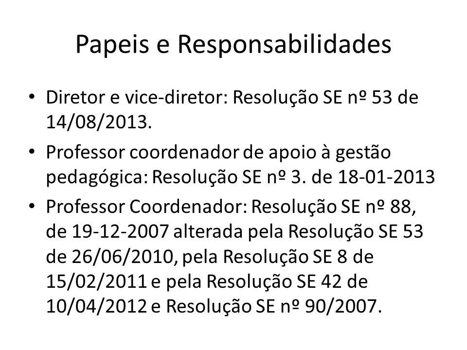 Papeis e Responsabilidades Diretor e vice-diretor: Resolução SE nº 53 de 14/08/2013. Professor coordenador de apoio à gestão pedagógica: Resolução SE