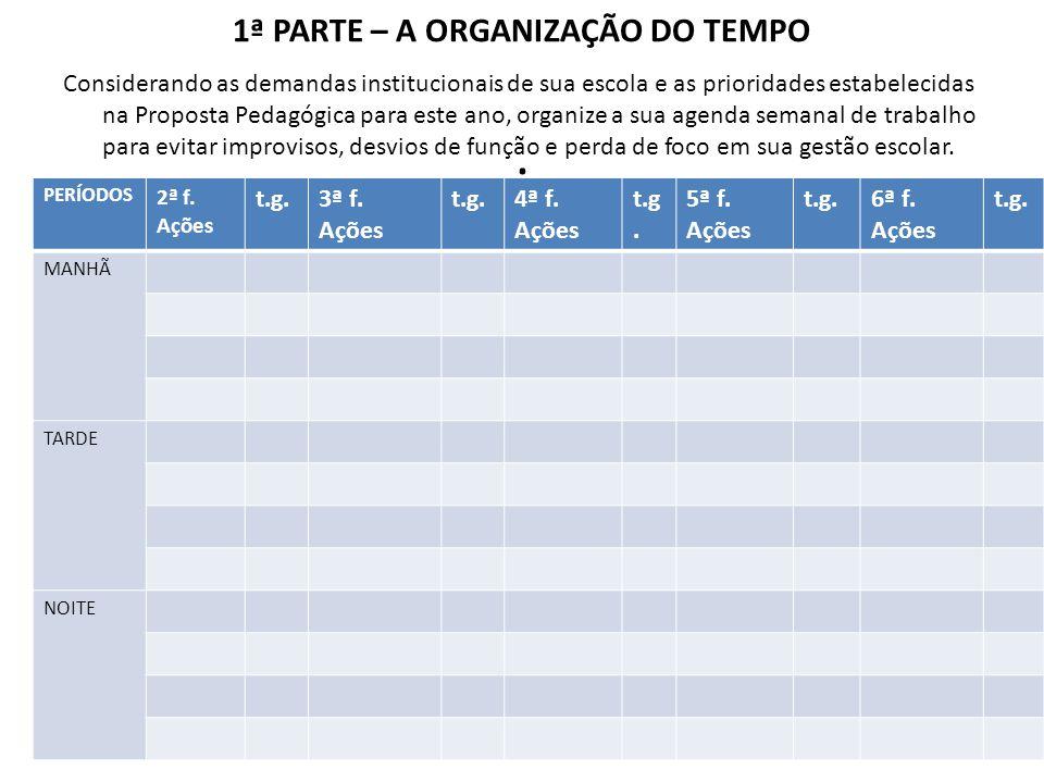 1ª PARTE – A ORGANIZAÇÃO DO TEMPO.
