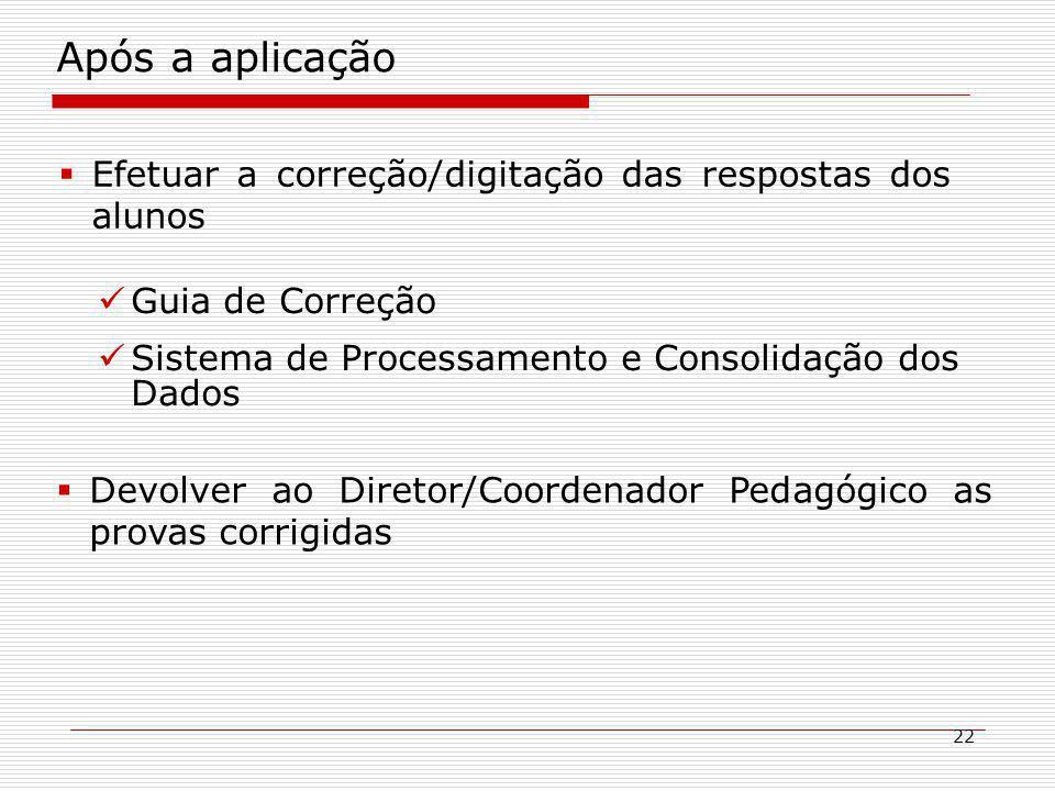 22 Após a aplicação Efetuar a correção/digitação das respostas dos alunos Guia de Correção Sistema de Processamento e Consolidação dos Dados Devolver ao Diretor/Coordenador Pedagógico as provas corrigidas