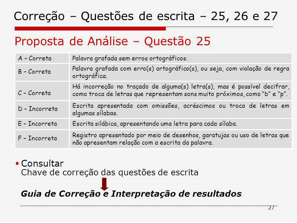 27 Correção – Questões de escrita – 25, 26 e 27 Proposta de Análise – Questão 25 A – CorretaPalavra grafada sem erros ortográficos.