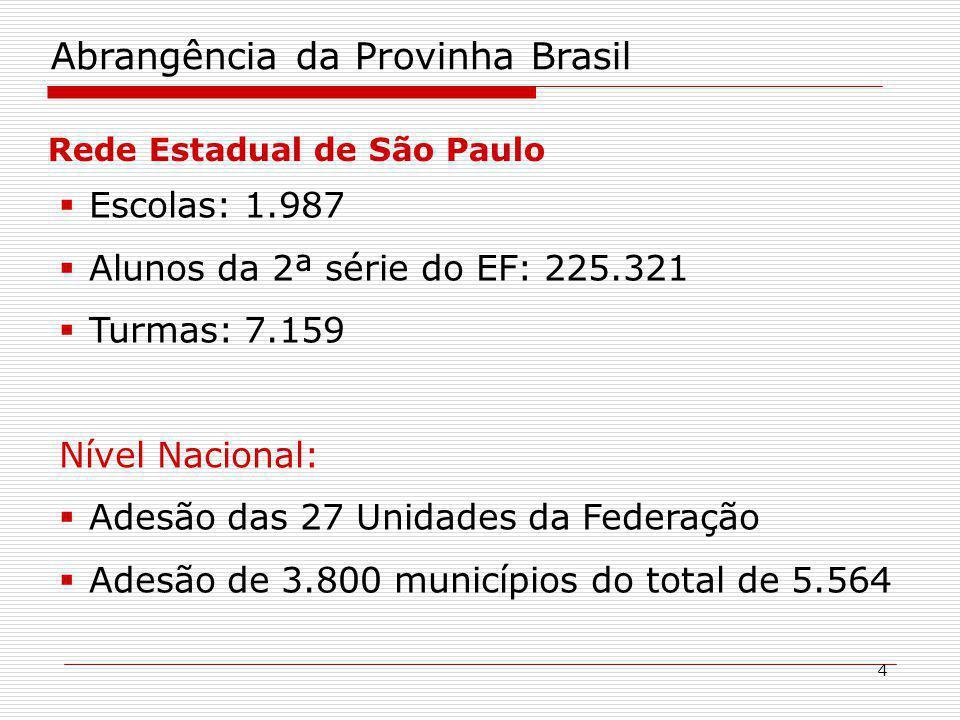 4 Abrangência da Provinha Brasil Rede Estadual de São Paulo Escolas: 1.987 Alunos da 2ª série do EF: 225.321 Turmas: 7.159 Nível Nacional: Adesão das 27 Unidades da Federação Adesão de 3.800 municípios do total de 5.564
