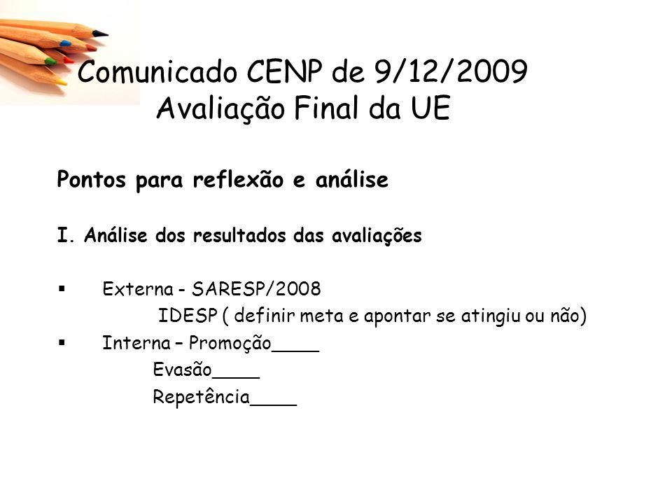Comunicado CENP de 9/12/2009 Avaliação Final da UE Pontos para reflexão e análise I. Análise dos resultados das avaliações Externa - SARESP/2008 IDESP
