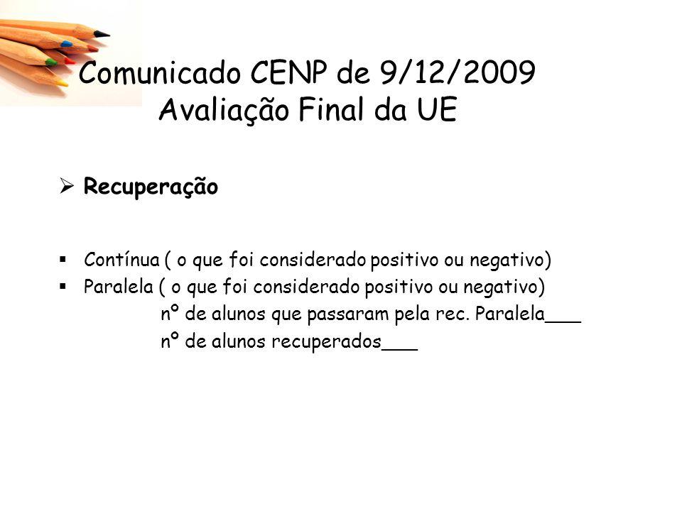 Recuperação Contínua ( o que foi considerado positivo ou negativo) Paralela ( o que foi considerado positivo ou negativo) nº de alunos que passaram pe