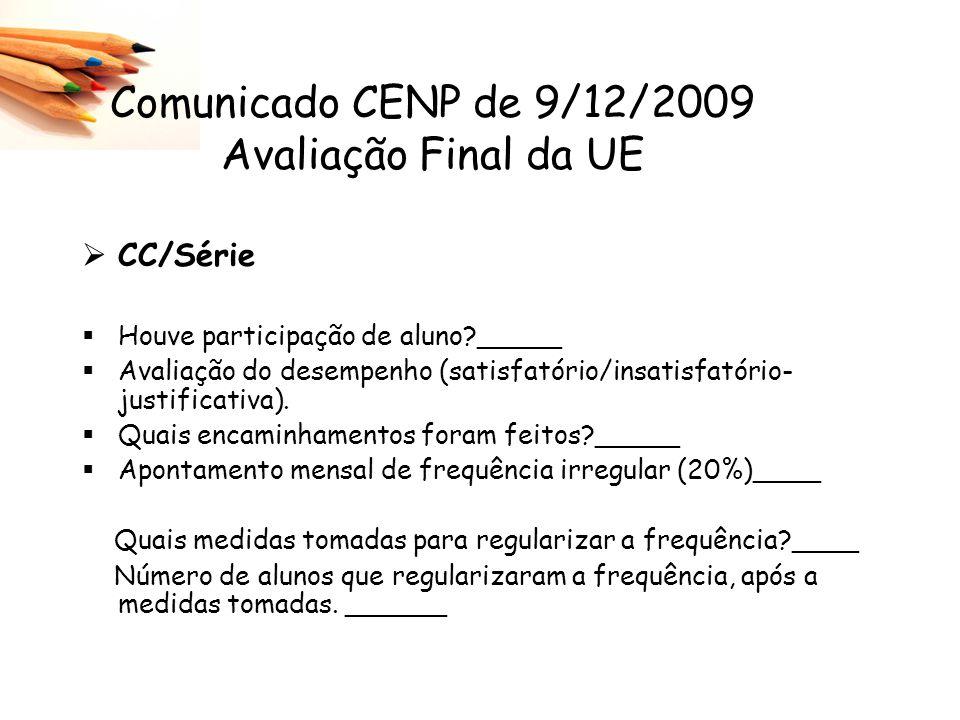 CC/Série Houve participação de aluno?_____ Avaliação do desempenho (satisfatório/insatisfatório- justificativa). Quais encaminhamentos foram feitos?__