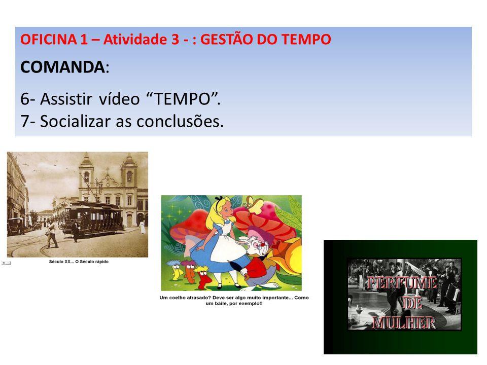 OFICINA 1 – Atividade 3 - : GESTÃO DO TEMPO COMANDA: 6- Assistir vídeo TEMPO. 7- Socializar as conclusões.