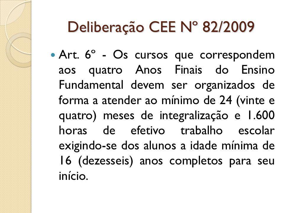 Deliberação CEE Nº 82/2009 Art.