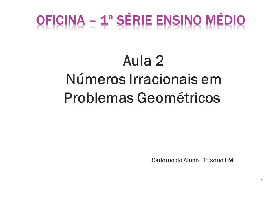 Aula 2 Números Irracionais em Problemas Geométricos Caderno do Aluno - 1ª série EM 7