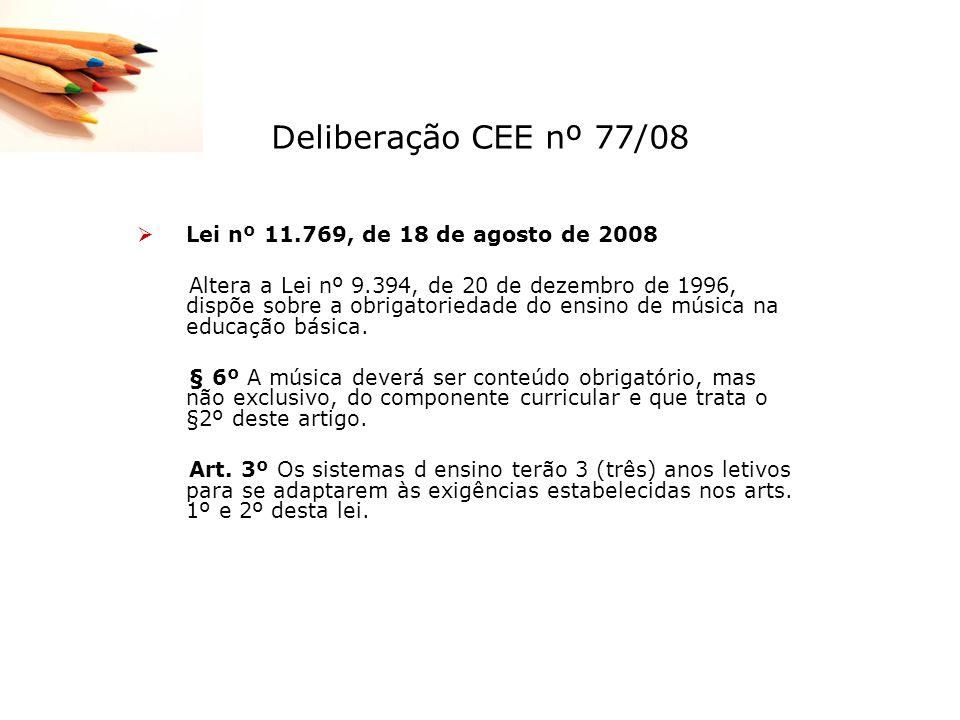 Deliberação CEE nº 77/08 Lei nº 11.769, de 18 de agosto de 2008 Altera a Lei nº 9.394, de 20 de dezembro de 1996, dispõe sobre a obrigatoriedade do en