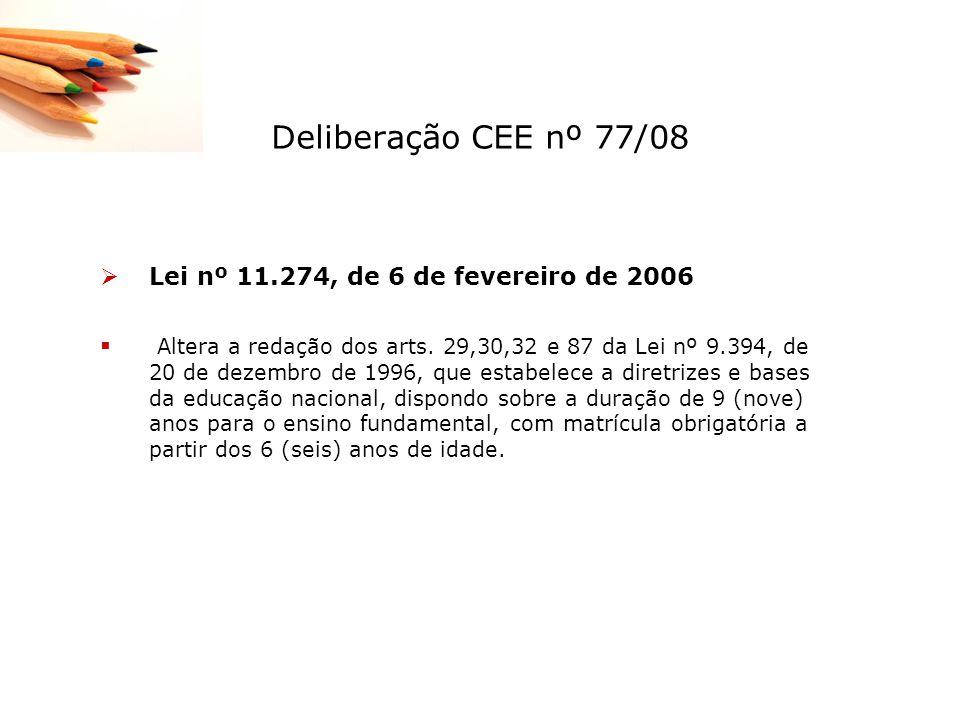 Deliberação CEE nº 77/08 Lei nº 11.274, de 6 de fevereiro de 2006 Altera a redação dos arts. 29,30,32 e 87 da Lei nº 9.394, de 20 de dezembro de 1996,