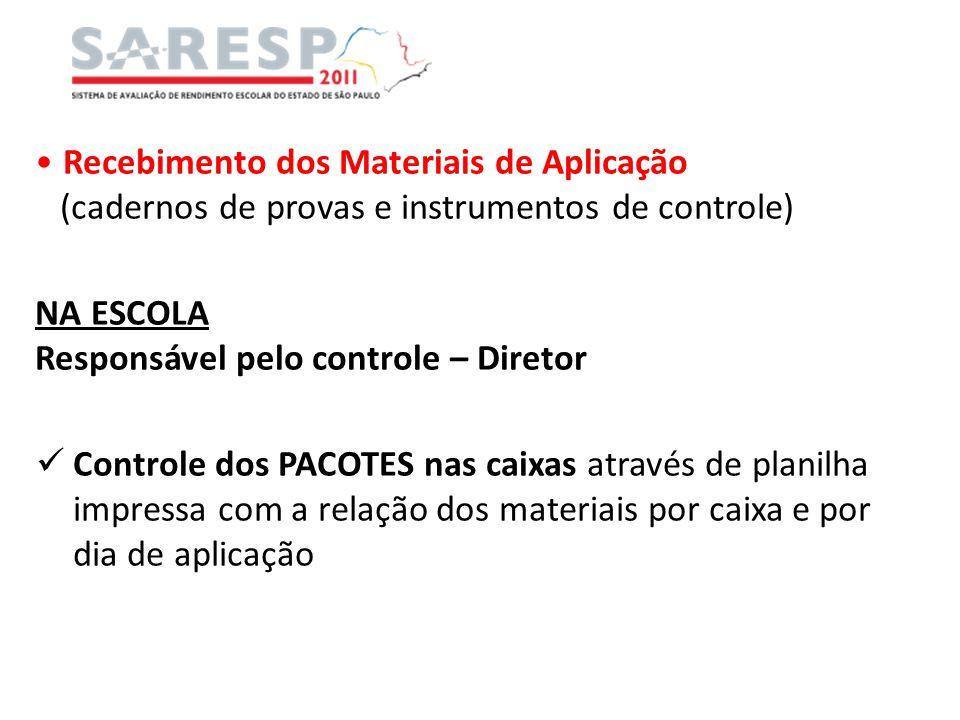 Recebimento dos Materiais de Aplicação (cadernos de provas e instrumentos de controle) NA ESCOLA Responsável pelo controle – Diretor Controle dos PACO