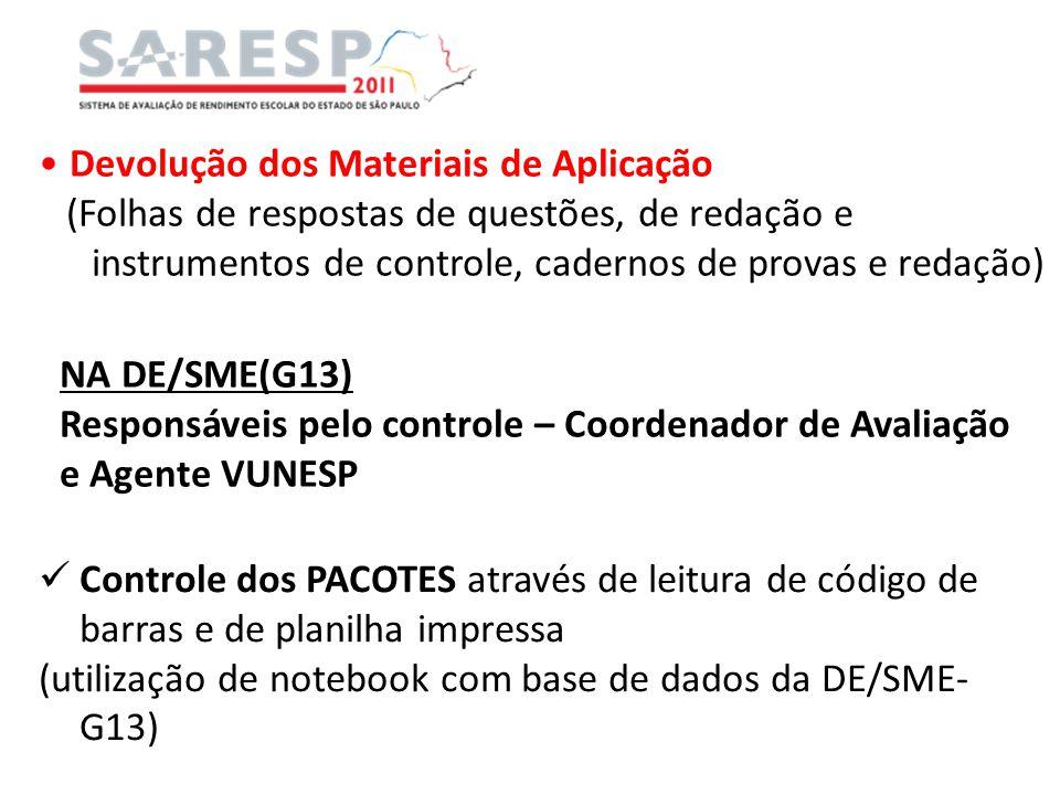 Devolução dos Materiais de Aplicação (Folhas de respostas de questões, de redação e instrumentos de controle, cadernos de provas e redação) NA DE/SME(