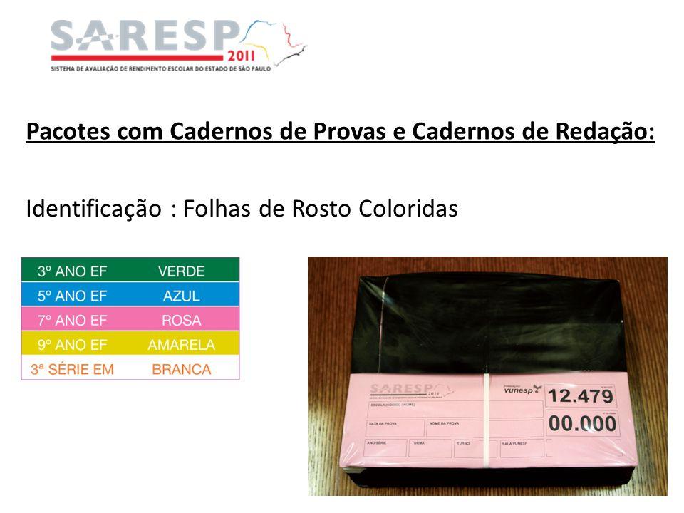 Pacotes com Cadernos de Provas e Cadernos de Redação: Identificação : Folhas de Rosto Coloridas