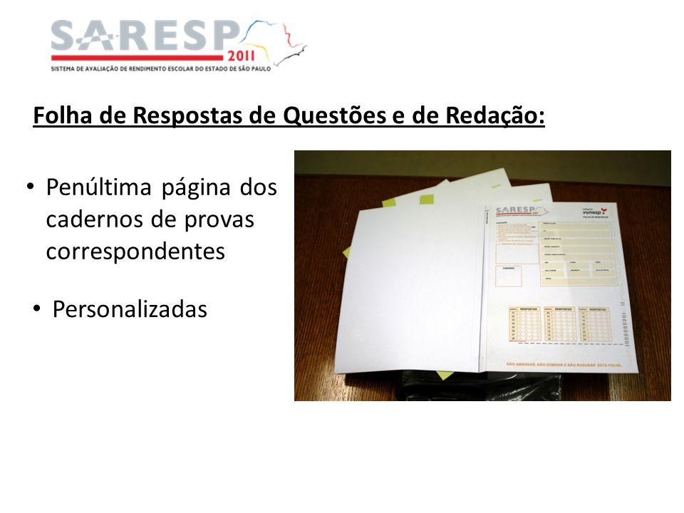 Folha de Respostas de Questões e de Redação: Penúltima página dos cadernos de provas correspondentes Personalizadas