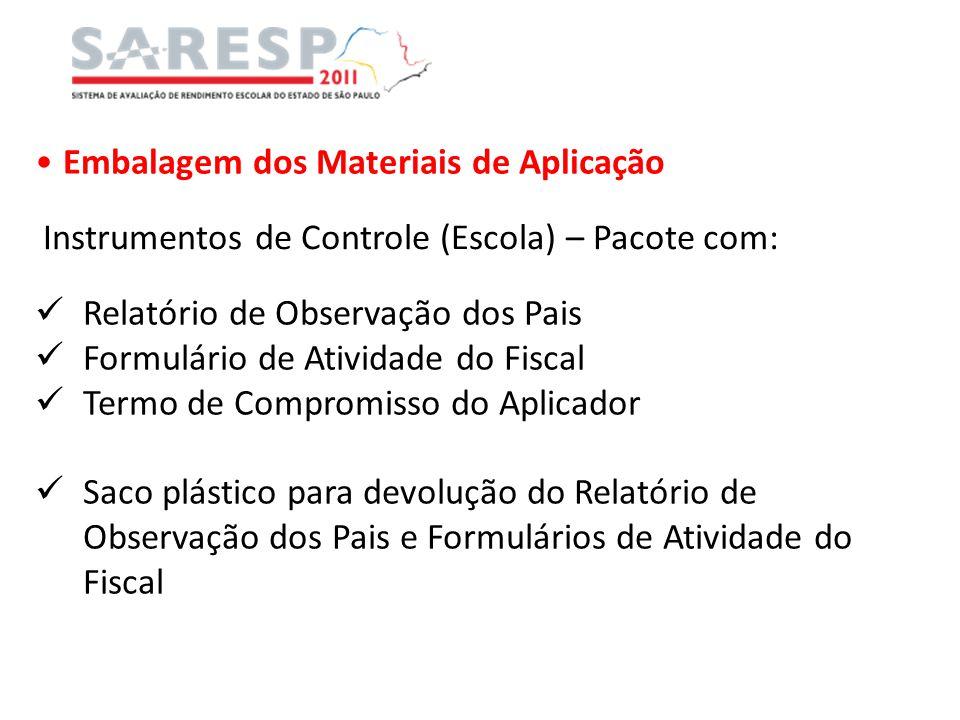 Embalagem dos Materiais de Aplicação Instrumentos de Controle (Escola) – Pacote com: Relatório de Observação dos Pais Formulário de Atividade do Fisca