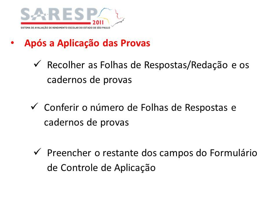 Após a Aplicação das Provas Recolher as Folhas de Respostas/Redação e os cadernos de provas Conferir o número de Folhas de Respostas e cadernos de pro