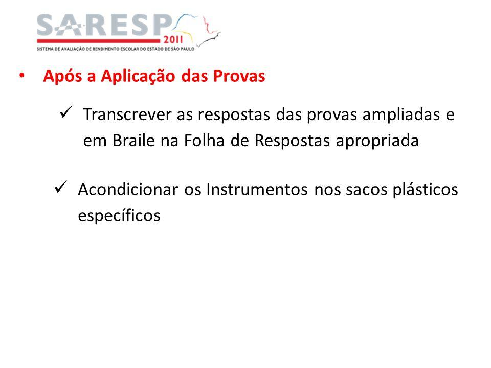 Após a Aplicação das Provas Transcrever as respostas das provas ampliadas e em Braile na Folha de Respostas apropriada Acondicionar os Instrumentos no