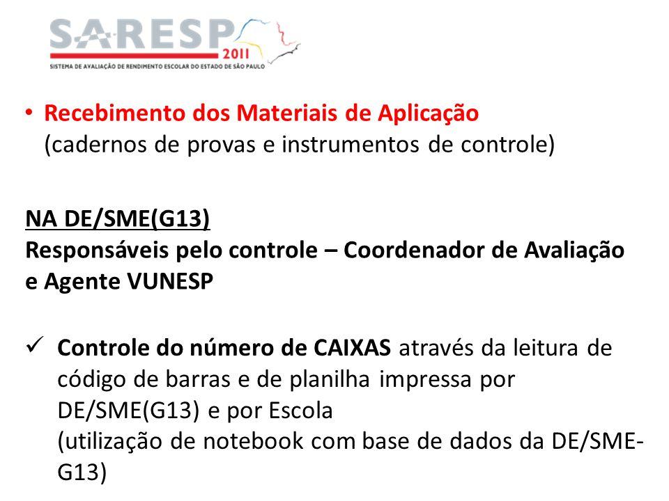 Recebimento dos Materiais de Aplicação (cadernos de provas e instrumentos de controle) NA DE/SME(G13) Responsáveis pelo controle – Coordenador de Aval