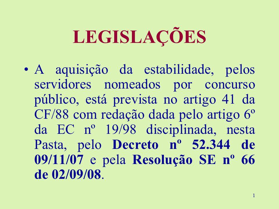 1 LEGISLAÇÕES A aquisição da estabilidade, pelos servidores nomeados por concurso público, está prevista no artigo 41 da CF/88 com redação dada pelo artigo 6º da EC nº 19/98 disciplinada, nesta Pasta, pelo Decreto nº 52.344 de 09/11/07 e pela Resolução SE nº 66 de 02/09/08.