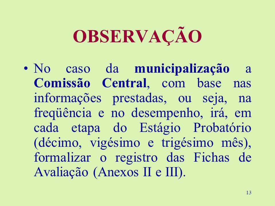 13 OBSERVAÇÃO No caso da municipalização a Comissão Central, com base nas informações prestadas, ou seja, na freqüência e no desempenho, irá, em cada etapa do Estágio Probatório (décimo, vigésimo e trigésimo mês), formalizar o registro das Fichas de Avaliação (Anexos II e III).