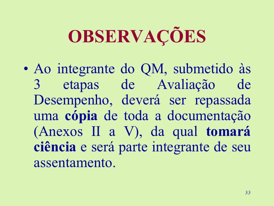 33 OBSERVAÇÕES Ao integrante do QM, submetido às 3 etapas de Avaliação de Desempenho, deverá ser repassada uma cópia de toda a documentação (Anexos II a V), da qual tomará ciência e será parte integrante de seu assentamento.