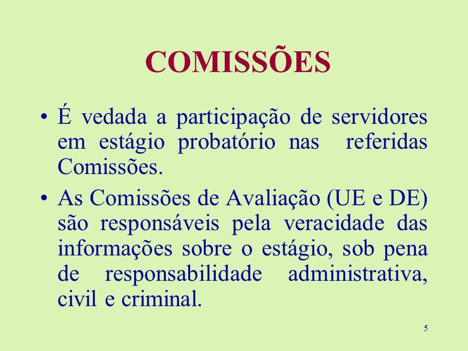 5 COMISSÕES É vedada a participação de servidores em estágio probatório nas referidas Comissões.