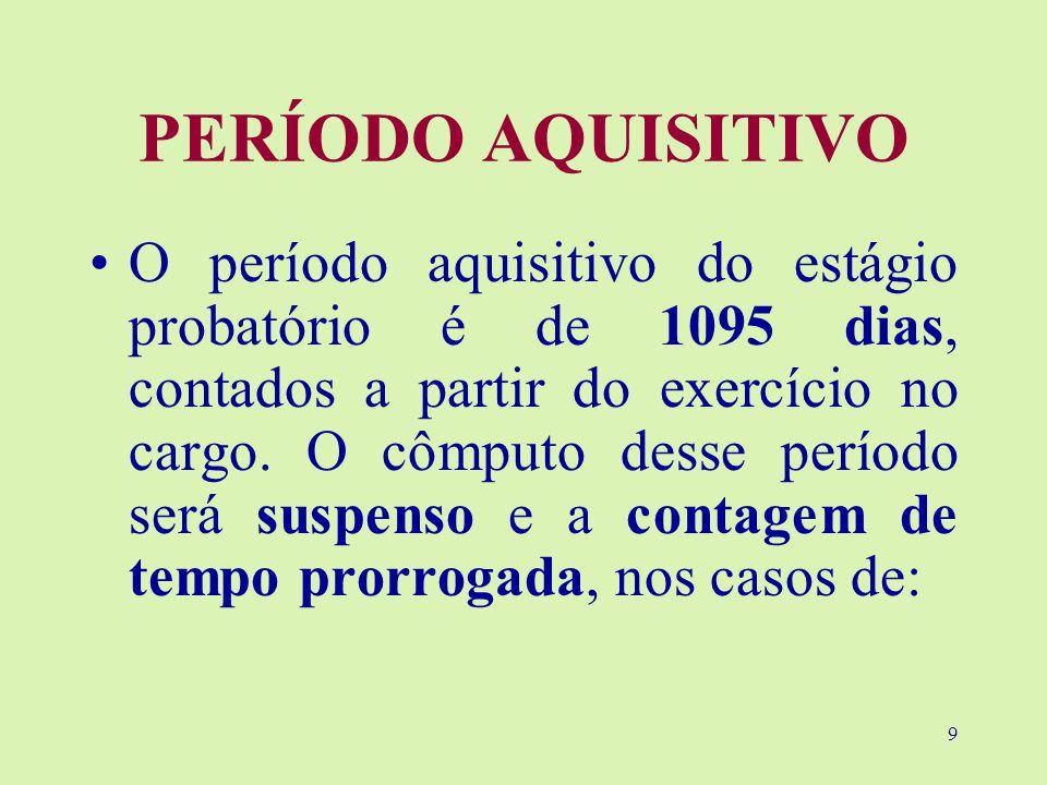 9 PERÍODO AQUISITIVO O período aquisitivo do estágio probatório é de 1095 dias, contados a partir do exercício no cargo.