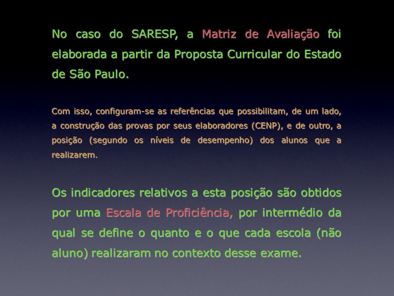 No caso do SARESP, a Matriz de Avaliação foi elaborada a partir da Proposta Curricular do Estado de São Paulo. Com isso, configuram-se as referências