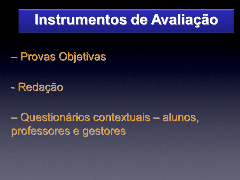 Instrumentos de Avaliação – Provas Objetivas - Redação – Questionários contextuais – alunos, professores e gestores