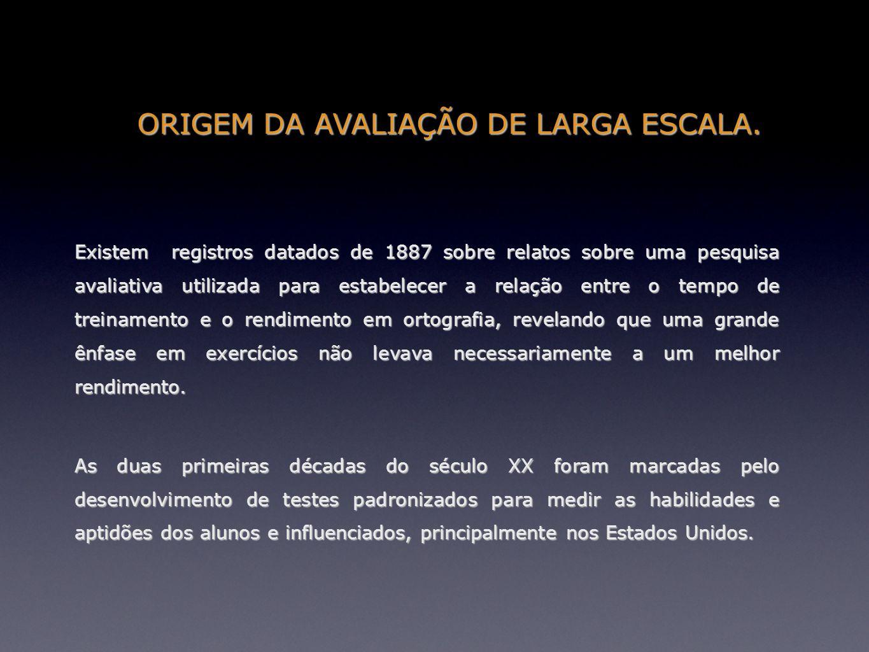 ORIGEM DA AVALIAÇÃO DE LARGA ESCALA. Existem registros datados de 1887 sobre relatos sobre uma pesquisa avaliativa utilizada para estabelecer a relaçã