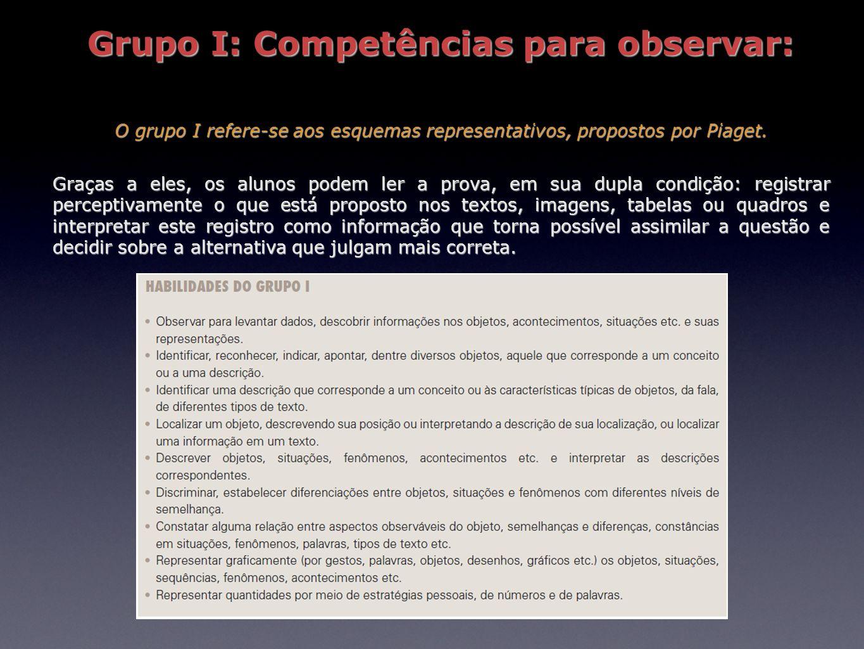 Grupo I: Competências para observar: O grupo I refere-se aos esquemas representativos, propostos por Piaget. Graças a eles, os alunos podem ler a prov