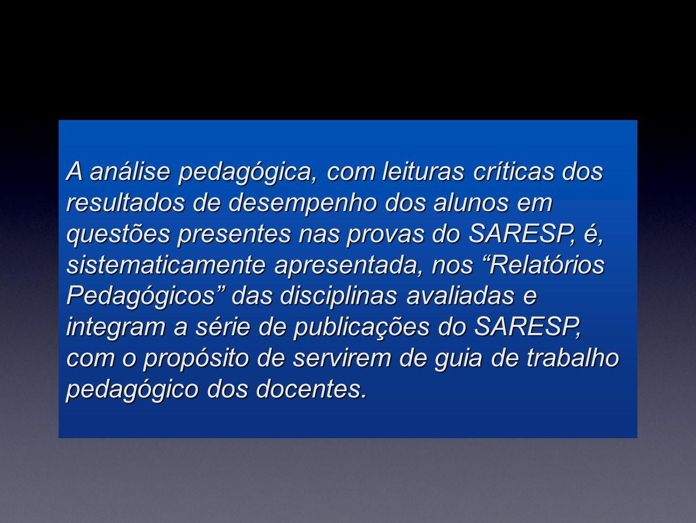 A análise pedagógica, com leituras críticas dos resultados de desempenho dos alunos em questões presentes nas provas do SARESP, é, sistematicamente ap