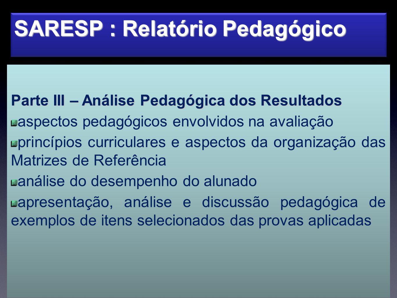 SARESP : Relatório Pedagógico Parte III – Análise Pedagógica dos Resultados aspectos pedagógicos envolvidos na avaliação princípios curriculares e asp
