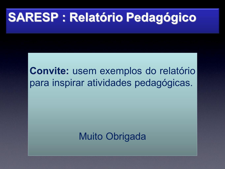 SARESP : Relatório Pedagógico Convite: Convite: usem exemplos do relatório para inspirar atividades pedagógicas. Muito Obrigada
