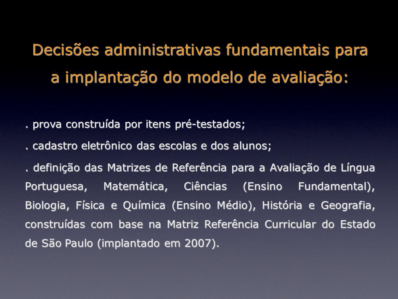 Decisões administrativas fundamentais para a implantação do modelo de avaliação:. prova construída por itens pré-testados;. cadastro eletrônico das es
