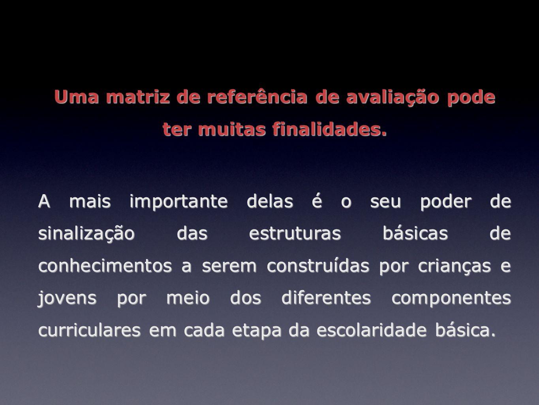 Uma matriz de referência de avaliação pode ter muitas finalidades. A mais importante delas é o seu poder de sinalização das estruturas básicas de conh