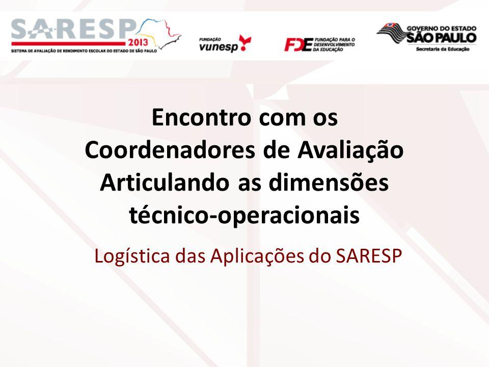 Encontro com os Coordenadores de Avaliação Articulando as dimensões técnicooperacionais Logística das Aplicações do SARESP