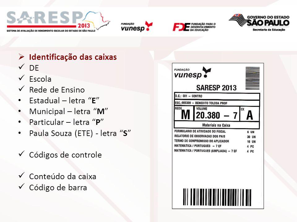 Identificação das caixas DE Escola Rede de Ensino Estadual – letra E Municipal – letra M Particular – letra P Paula Souza (ETE) letra S Códigos de con