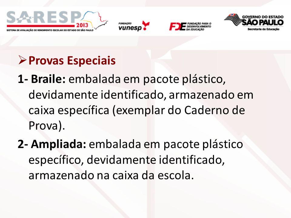 Provas Especiais 1- Braile: embalada em pacote plástico, devidamente identificado, armazenado em caixa específica (exemplar do Caderno de Prova). 2- A