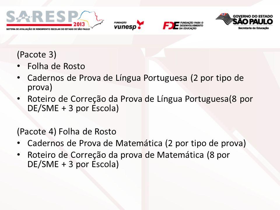 (Pacote 3) Folha de Rosto Cadernos de Prova de Língua Portuguesa (2 por tipo de prova) Roteiro de Correção da Prova de Língua Portuguesa(8 por DE/SME