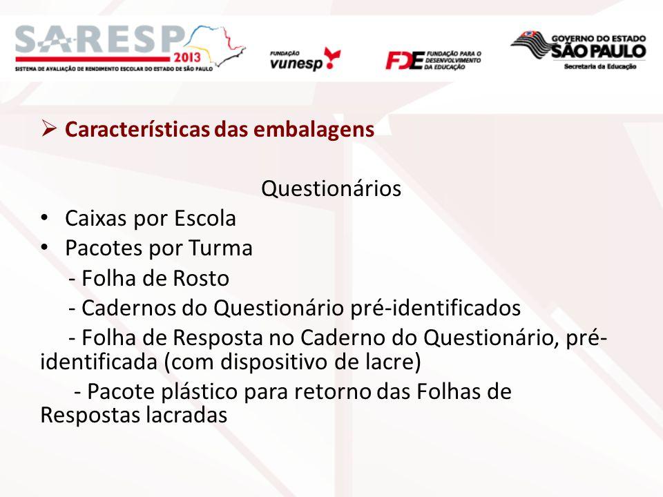 Características das embalagens Questionários Caixas por Escola Pacotes por Turma - Folha de Rosto - Cadernos do Questionário pré-identificados - Folha