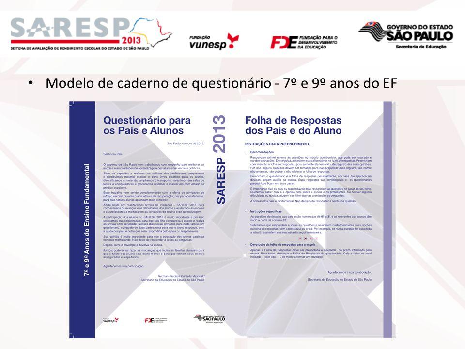 Modelo de caderno de questionário - 7º e 9º anos do EF