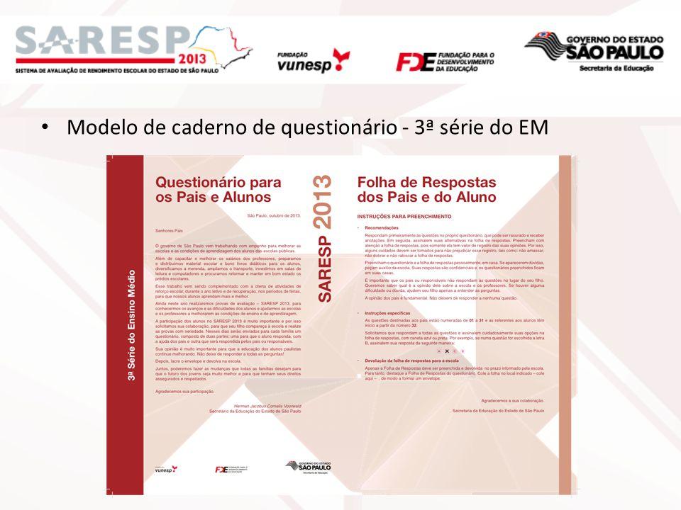 Modelo de caderno de questionário - 3ª série do EM
