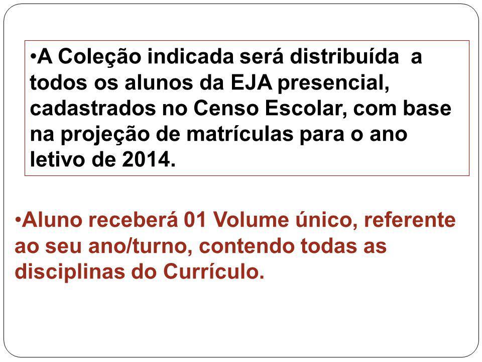 A Coleção indicada será distribuída a todos os alunos da EJA presencial, cadastrados no Censo Escolar, com base na projeção de matrículas para o ano l