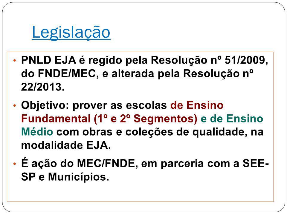 Legislação PNLD EJA é regido pela Resolução nº 51/2009, do FNDE/MEC, e alterada pela Resolução nº 22/2013. Objetivo: prover as escolas de Ensino Funda
