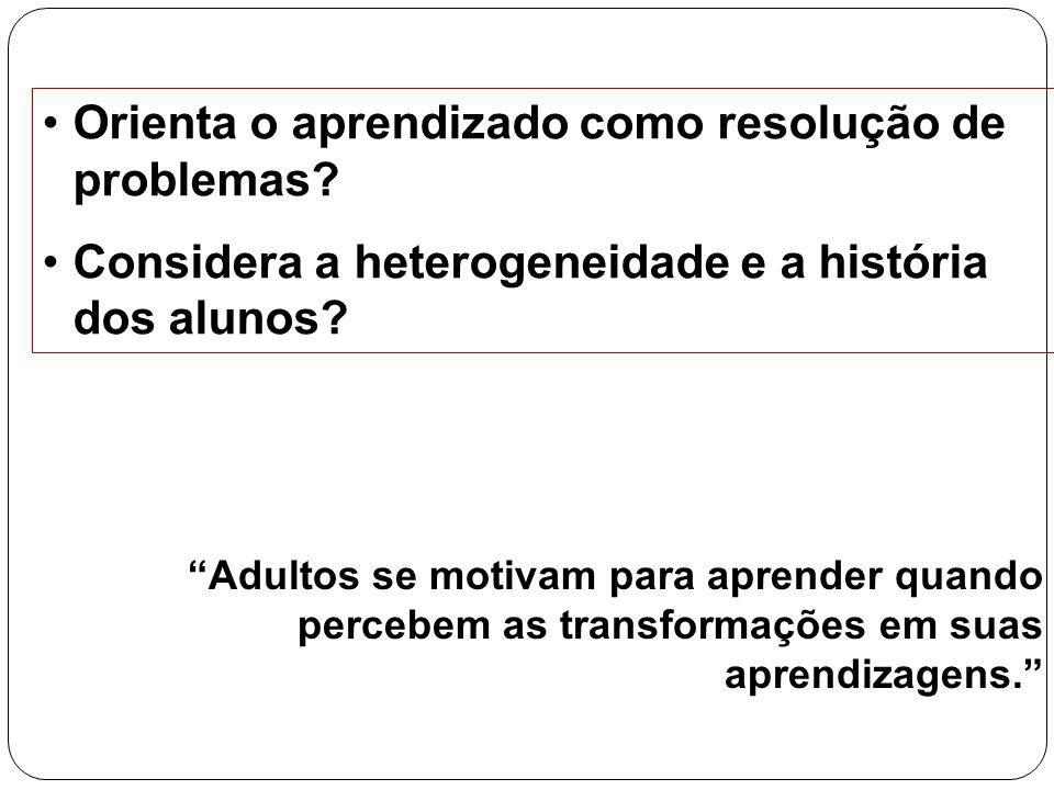 20 Orienta o aprendizado como resolução de problemas? Considera a heterogeneidade e a história dos alunos? Adultos se motivam para aprender quando per