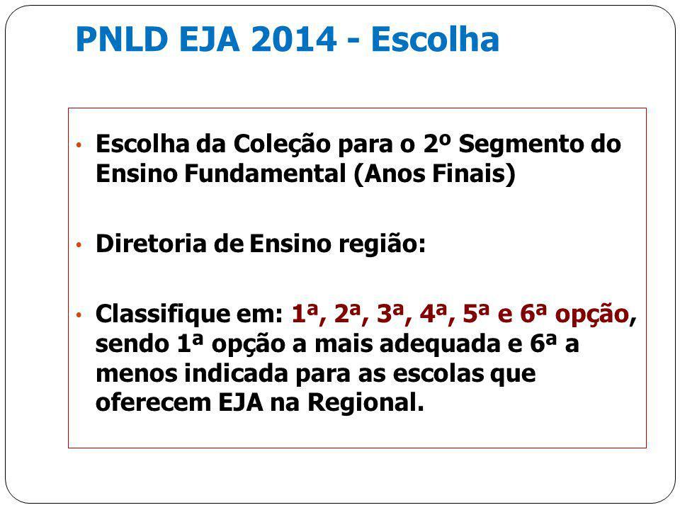PNLD EJA 2014 - Escolha Escolha da Coleção para o 2º Segmento do Ensino Fundamental (Anos Finais) Diretoria de Ensino região: Classifique em: 1ª, 2ª,