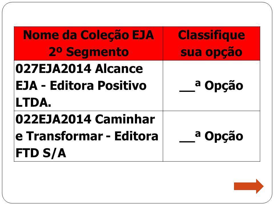 Nome da Coleção EJA 2º Segmento Classifique sua opção 027EJA2014 Alcance EJA - Editora Positivo LTDA. __ª Opção 022EJA2014 Caminhar e Transformar - Ed