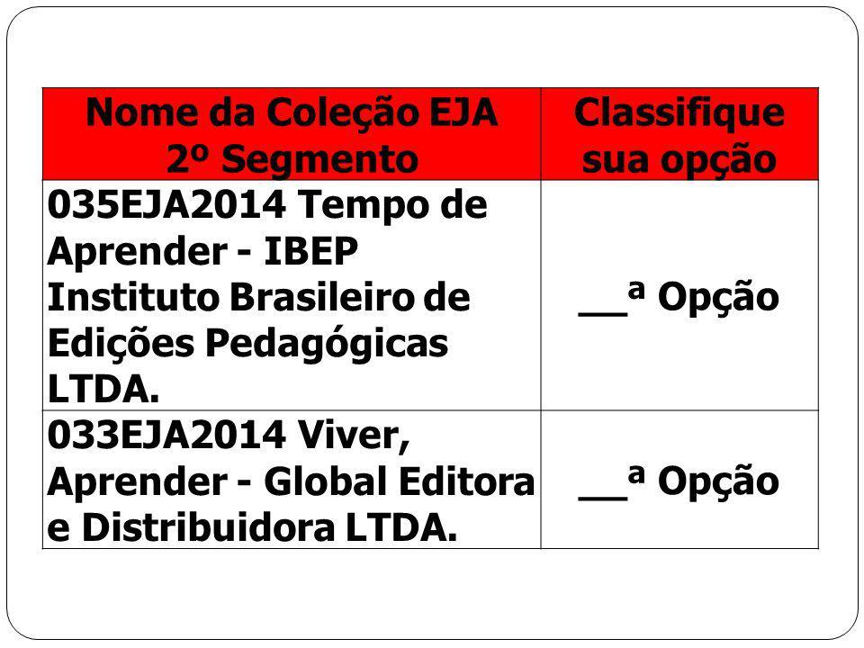 Nome da Coleção EJA 2º Segmento Classifique sua opção 035EJA2014 Tempo de Aprender - IBEP Instituto Brasileiro de Edições Pedagógicas LTDA. __ª Opção
