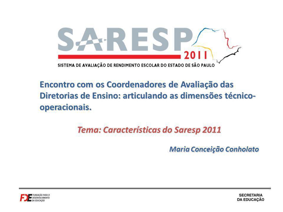 Encontro com os Coordenadores de Avaliação das Diretorias de Ensino: articulando as dimensões técnico- operacionais. Tema: Características do Saresp 2